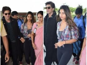 SRK and Suhana Khan make a stylish appearance at the airport