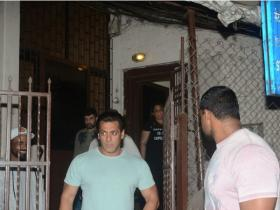 Salman Khan snapped while exiting a dubbing studio