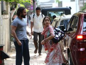 Sara Ali Khan and dad Saif spotted outside Abhishek Kapoor's office