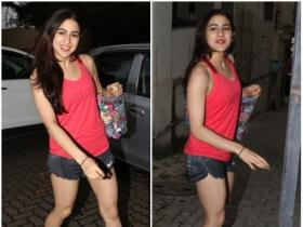 Sara Ali Khan is all smiles as she gets clicked by the shutterbugs outside gym