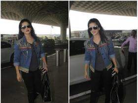 Sunny Leone paped at the Mumbai airport