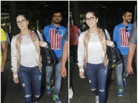 Sunny Leone snapped at the airport by the paps in the city