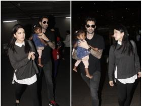 Sunny Leone snapped with daughter Nisha and husband Daniel at the airport