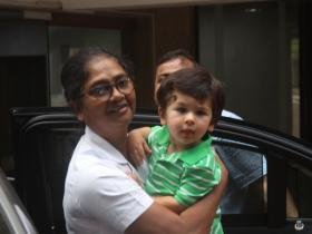 Taimur Ali Khan gets snapped by the paparazzi outside his playschool