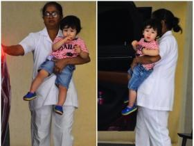 Taimur Ali Khan papped outside his grandmother Babita Kapoor's house