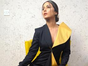 Hina Khan channels her inner boss in a black and yellow concept suit; See Throwback Photos