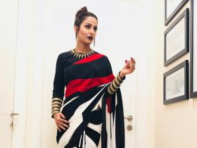 Hina Khan looks magnificent in a black and red saree; See THROWBACK photos