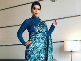 Hina Khan looks magnificent in a blue saree and we cannot take our eyes off her; See Throwback Photos
