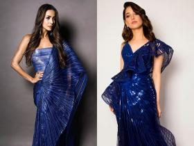 Maliaka Arora and Tamannaah Bhatia: When the actresses donned a similar royal blue metallic saree; See PHOTOS