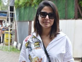 Hina Khan steps out in a breezy look sporting a white sticker shirt with her new hairstyle; See PICS