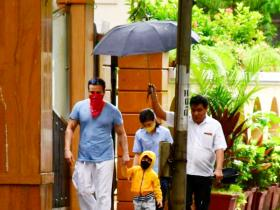 Saif Ali Khan and Taimur Ali Khan step out to enjoy the rain without Kareena Kapoor Khan; See Photos