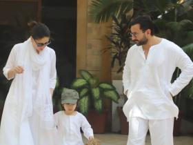 Saif Ali Khan, Kareena Kapoor Khan, Taimur Ali Khan twin in white as they step out to celebrate Holi; See Pics