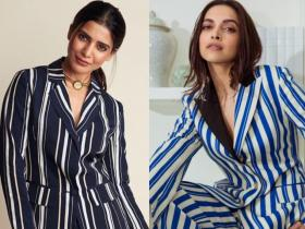 Samantha Akkineni or Deepika Padukone: Whose blue striped pantsuit did you like more ?