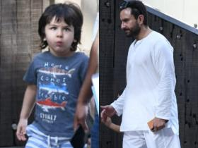 Taimur Ali Khan is the cutest munchkin as he gets spotted with Saif Ali Khan; Check PHOTOS