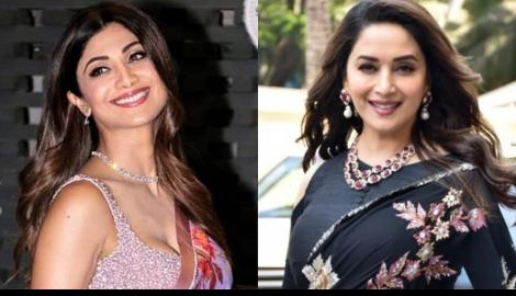 Timeless Divas! Shilpa Shetty OR Madhuri Dixit ; Whose floral saree look would you love to steal?