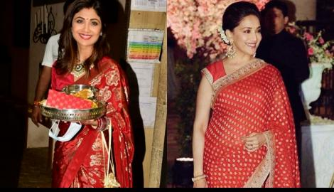 QUEENS OF THE 90s: Shilpa Shetty Kundra OR Madhuri Dixit Nene; Whose red saree look would you love to steal?