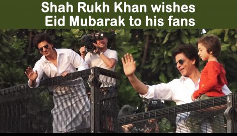 Shah Rukh Khan along with AbRam and David Letterman wishes fans on the occasion of Eid outside Mannat