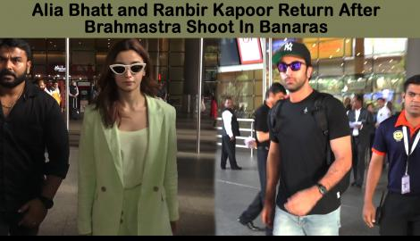 Bollywood couple Alia Bhatt and Ranbir Kapoor arrive in style after their shoot in Banaras