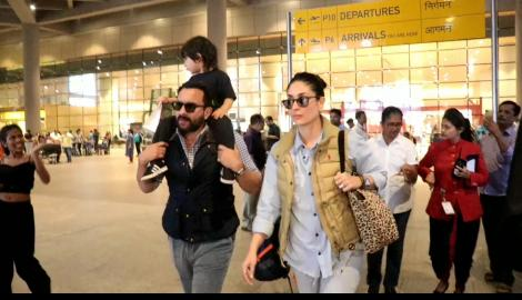 Taimur Ali Khan enjoys a ride on dad Saif Ali Khan's shoulder; Kareena Kapoor nails the airport look