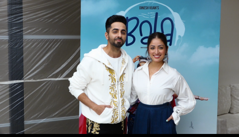 Bala actor Ayushmann Khurrana and co-star Yami Gautam arrive in style for promotions of their movie