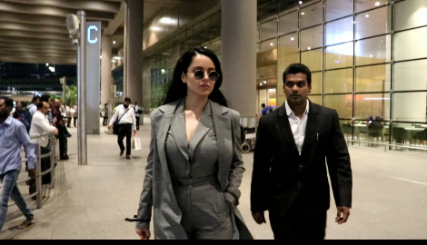 Kangana Ranaut stuns in a jumpsuit and coat as she gets papped at the airport