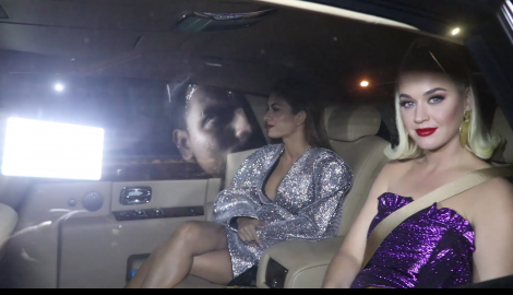 Katy Perry arrives at the bash thrown to welcome her by Karan Johar