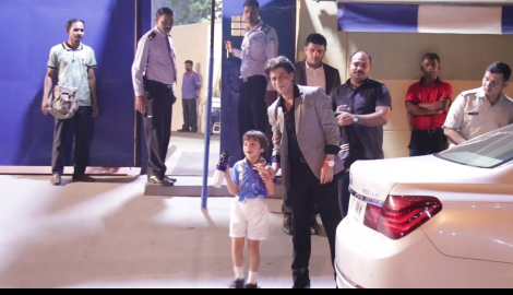 Shah Rukh Khan spotted with son AbRam Khan at his annual day function