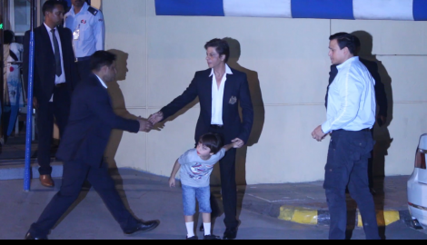AbRam Khan is a bundle of cuteness as he gets clicked at school with dad Shah Rukh Khan
