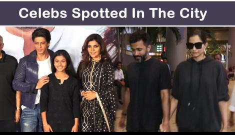 Sonam K Ahuja and husband Anand Ahuja twin in black; Shah Rukh Khan looks dapper as he attends an event