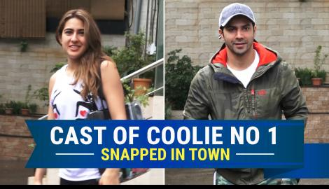 Coolie No. 1 actors Sara Ali Khan and Varun Dhawan snapped at dance rehearsals