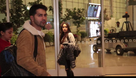 Varun Dhawan and Natasha Dalal at the airport as they take off for their New Year celebrations
