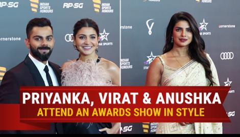 Virat Kohli, Anushka Sharma and Priyanka Chopra Jonas make a stylish appearance at an award show